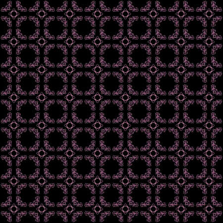 Seamless texture with 3D rendering abstract fractal purple pattern on a black background for fabric design