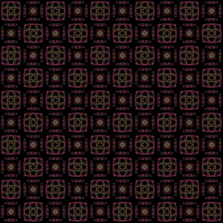 Seamless texture with 3D rendering abstract fractal colorful pattern on a black background for fabric design Фото со стока