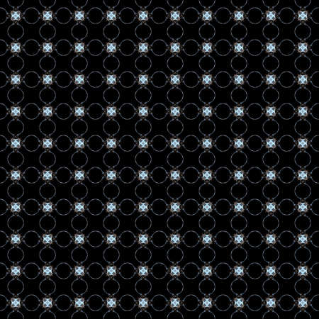 Seamless texture with 3D rendering abstract fractal blue pattern on a black background for fabric design
