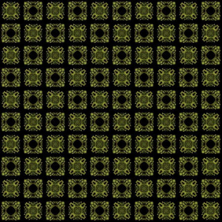 Seamless texture with 3D rendering abstract fractal yellow pattern on a black background for fabric design