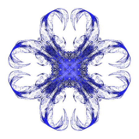 Abstract grunge blue floral pattern isolated on white background. Rough noise design.