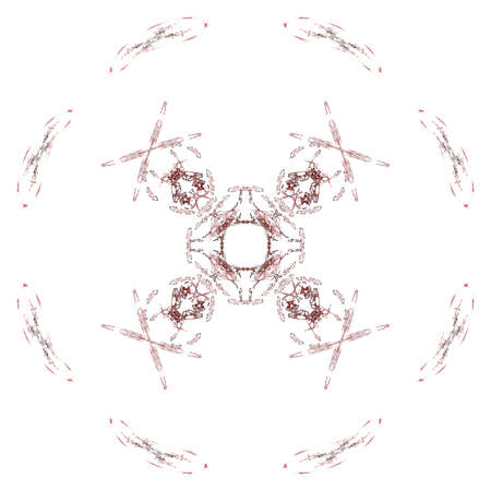 Abstract grunge maroon floral pattern isolated on white background. Rough noise design. Stock Photo