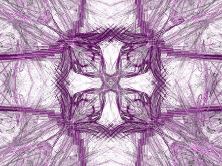 grime: Abstract grunge dirty purple symmetrical pattern on white background. Rough noise design.