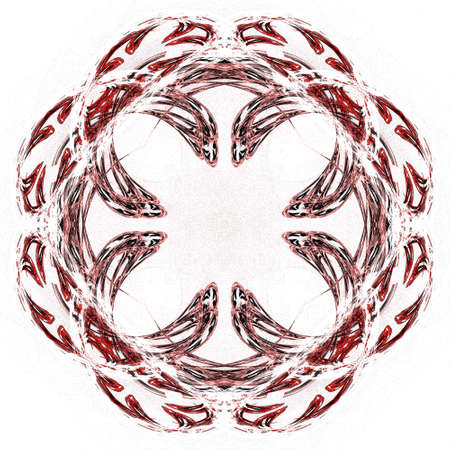 Abstract grunge red floral pattern isolated on white background. Rough noise design.
