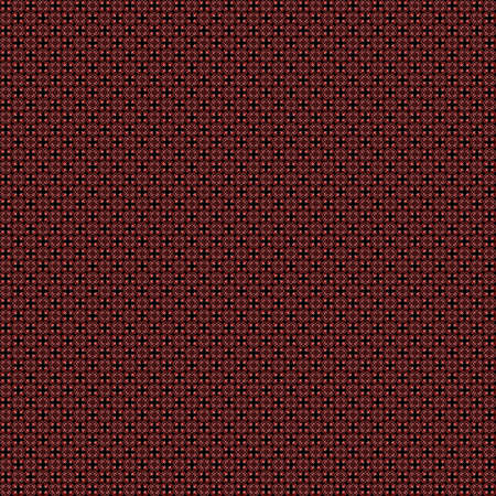 digitally generated image: Seamless abstract grunge red texture on black background. Arranged in a staggered manner two very small floral fractal patterns. Rough noise design image. Stock Photo