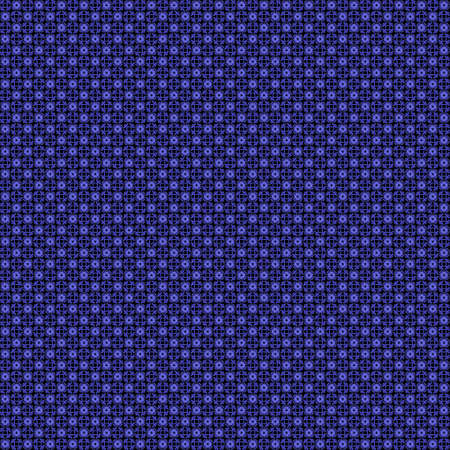 Seamless abstract grunge blue texture on black background. Arranged in a staggered manner two very small floral fractal patterns. Rough noise design image. Stock Photo