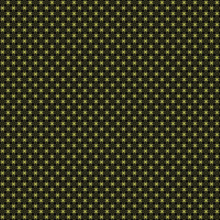 digitally generated image: Seamless abstract grunge yellow texture on black background. Arranged in a staggered manner two very small floral fractal patterns. Rough noise design image.
