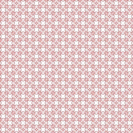 Seamless abstract grunge red texture on white background. Arranged in a staggered manner two small floral fractal patterns. Rough noise design image.