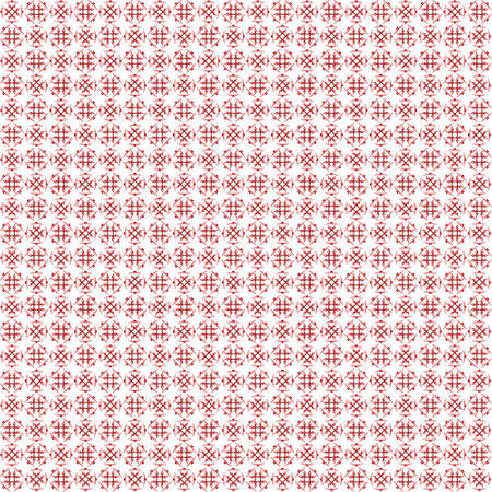 Seamless abstract black red texture fractal patterns on white background. Arranged in a staggered manner two small floral fractal patterns.