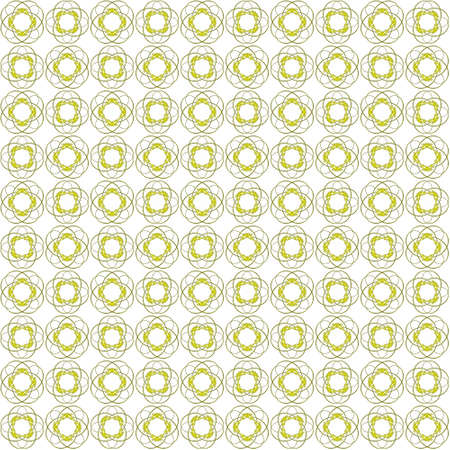 Seamless abstract black yellow texture fractal patterns on white background. Arranged in a staggered manner two medium floral fractal patterns.
