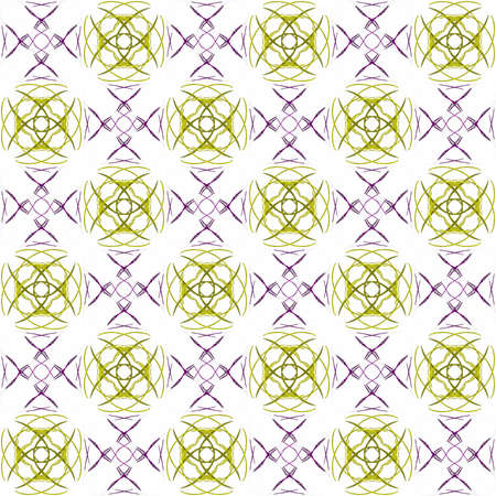 Seamless abstract texture fractal contrast purple yellow in two patterns on white background. Arranged in a staggered manner two large floral fractal patterns. Stock Photo