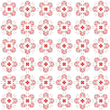 Seamless abstract black red texture fractal patterns on white background. Arranged in a staggered manner two large floral fractal patterns. Stock Photo