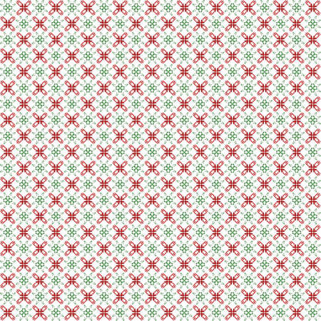 Seamless abstract texture fractal contrast green red in two patterns on white background. Arranged in a staggered manner two small floral fractal patterns. Stock Photo