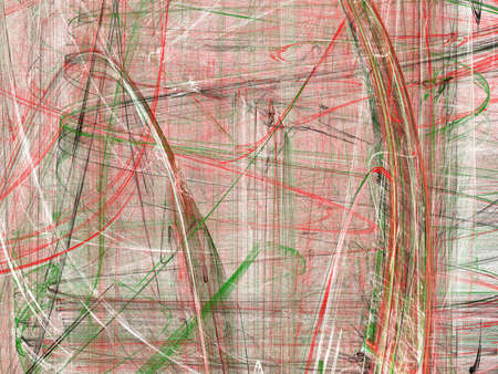 Grunge abstract contrast green and red background on white backdrop. Four colors. Rectangular horizontal shape. Average rough noise design.