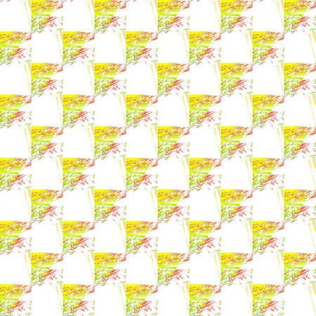 Grunge seamless abstract yellow texture on white background. Arranged in a staggered manner two medium broken fractal patterns. Rough noise design image.