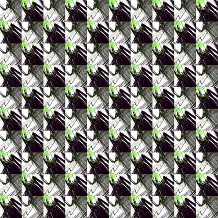Grunge seamless abstract black texture on white background. Arranged in a staggered manner two medium broken fractal patterns. Rough noise design image.