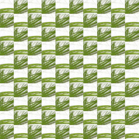 Grunge seamless abstract green texture on white background. Arranged in a staggered manner two medium broken fractal patterns. Rough noise design image.