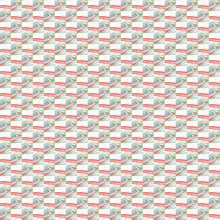 Grunge seamless abstract red square texture on white background. Arranged in a staggered manner two small broken fractal patterns. Rough noise design image. Stock Photo