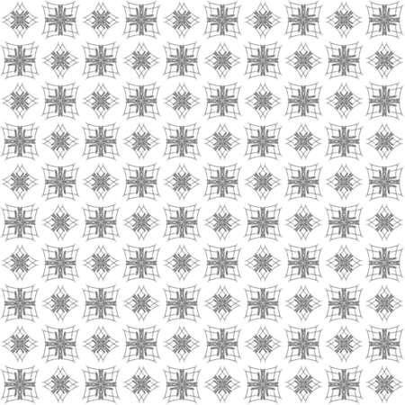 Seamless abstract black texture fractal patterns on white background. Arranged in a staggered manner two medium floral fractal patterns.