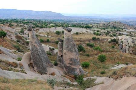 Three Graces (Three Beauties). Rock Formation near Ürgüp. Cappadocia, Central Anatolia, Turkey.