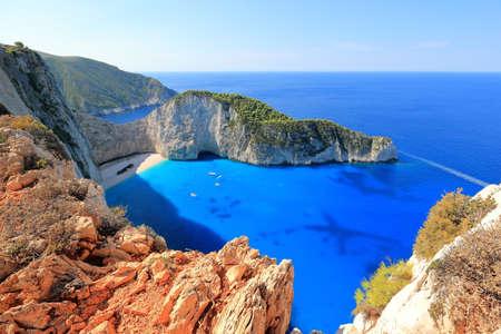 Amazing Navagio Beach or Shipwreck beach in summer. Zakynthos or Zante island, Ionian Sea, Greece.
