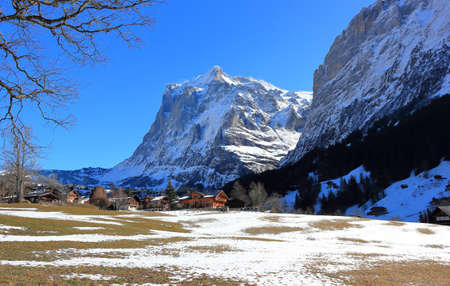 View of Bernese Alps from Grindelwald. Switzerland, Europe.
