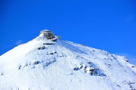 Schilthorn's summit, 2970 m, with the Piz Gloria.  Bernese Alps of Switzerland, Europe.