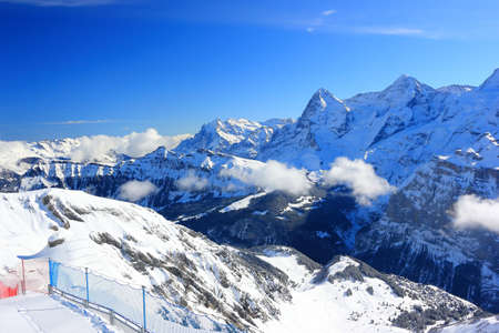 View of Eiger and Mönch from Schilthorn. Bernese Alps of Switzerland, Europe.
