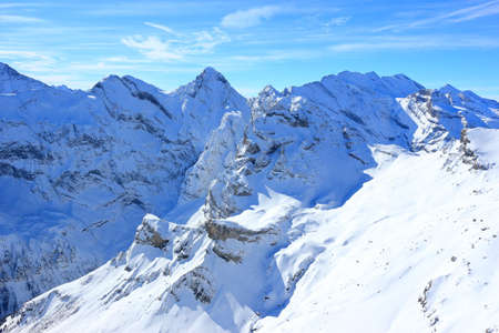 View of Alps from Schilthorn. Bernese Alps of Switzerland, Europe.