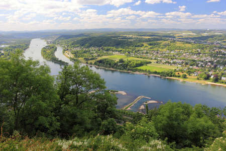 Panarama view from the Drachenfels to the river Rhine and view of Nonnenwerth Island. Bad Honnef near Bonn, Germany.