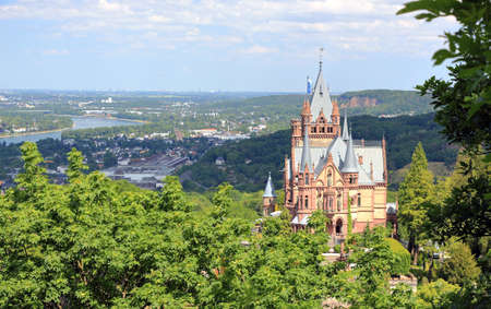 Drachenburg Castle, Rhine valley and the city of Bonn. Germany, Europe. Editorial