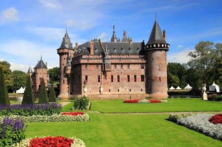 Utrecht, The Netherlands - September 7, 2020: Visiting de Haar Castle and the beautiful park on a sunny morning in September. De Haar is one of the most well-known medieval castles in the Netherlands. Editorial