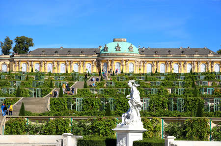 Potsdam, Germany - September 18, 2020: Visiting the royal palace und park Sanssouci in Potsdam on a sunny day in September. View on the the south facing garden façade.