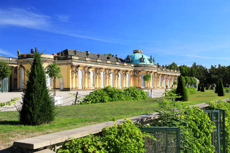 Potsdam, Germany - September 18, 2020: Visiting the royal palace und park Sanssouci in Potsdam on a sunny day in September. View on the south or garden façade and corps de logis of Sanssouci. Editorial