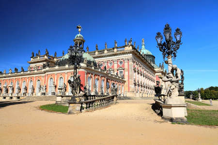 Potsdam, Germany - September 18, 2020: Visiting the royal palace und park Sanssouci in Potsdam on a sunny day in September. View on the New Palace. Editorial