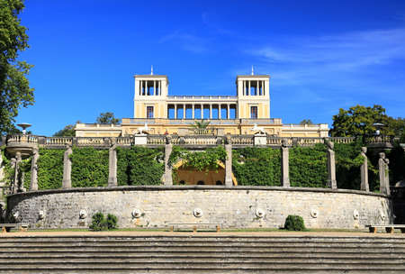 Potsdam, Germany - September 18, 2020: Visiting the royal palace und park Sanssouci in Potsdam on a sunny day in September. View on the Orangery Palace.