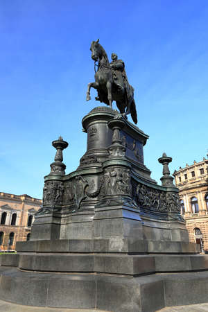 The statue of King Johann from Saxony by the Semperoper. Dresden, Germany, Europe.