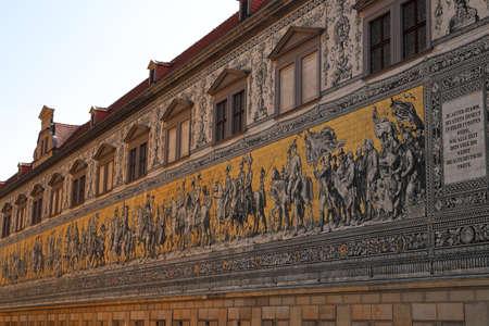 The Fürstenzug - the Saxon sovereigns depicted in Meissen porcelain. Dresden, Saxony, Germany, Europe.