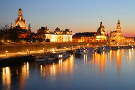 Dresden at night - Brühl's Terrace. Saxony, Germany, Europe.