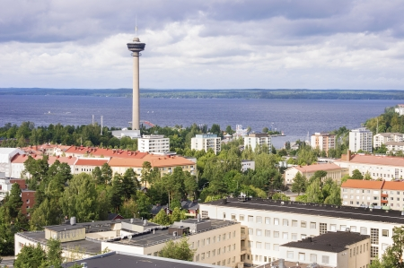 Särkänniemi Tower and Residential District in Tampere, Finland Stok Fotoğraf - 18974313