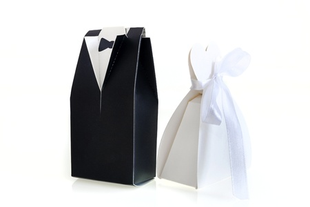 Wedding or divorce: Paper Symbol of Bride and Groom Stock Photo - 19055157