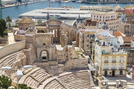 Roman Amphitheater in Cartagena, Murcia, Spain Stok Fotoğraf