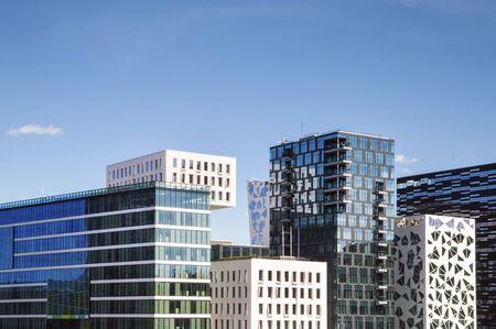 scandinavian peninsula: Modern Office  Buildings in the Oslo City Center  Stock Photo
