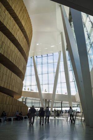 scandinavian peninsula: Wooden, Modern Interior of Oslo Opera House