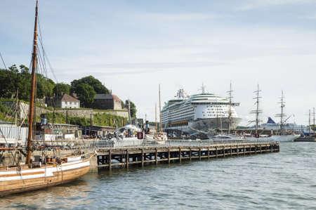 scandinavian peninsula: Sailboats, Ferry, Jetty in Harbor of Oslo Stock Photo