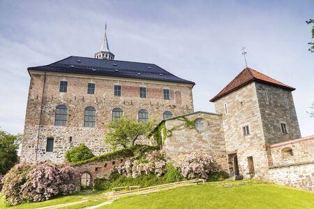 scandinavian peninsula: Close up of Akershus Fortress located near Oslo Fjord
