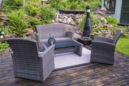 House patio with wicker chairs Stok Fotoğraf - 20976493