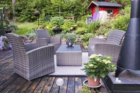 House patio with wicker chairs