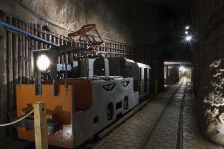 Underground tunnel and machine in the Salt Mine in Wieliczka, Poland