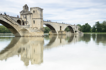 rhone: Famous bridge over Rhone in Avignon, France